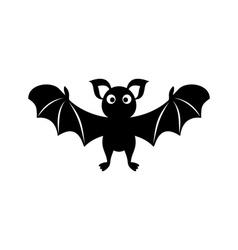 Cute bat silhouette icon vector image