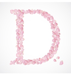 D letter Alphabet from pink petals of rose vector image vector image