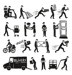 Delivery doodle set vector