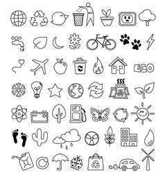 Eco doodle icon set vector