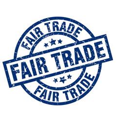 fair trade blue round grunge stamp vector image