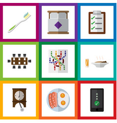 Flat icon lifestyle set of questionnaire lunch vector