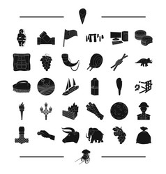 Food travel england and other web icon in black vector