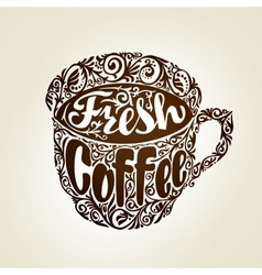 Fresh Coffee Cup with decorative patterns vector image vector image