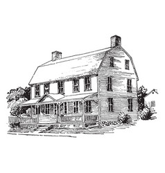 Gambrel roof upper part vintage engraving vector