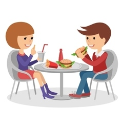 Girl and boy eating fast food vector image vector image