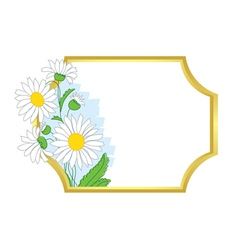 gold frame with white chamomile vector image