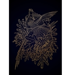 Graphic art with pheasants vector