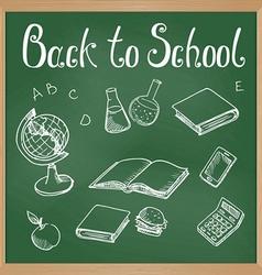 Green blackboard with chalk-drawn school objects vector
