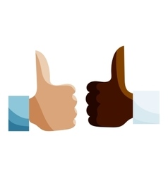 Hands different nationalities showing like icon vector