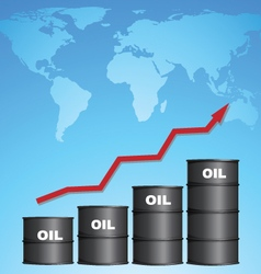 Increasing Price of Oil With World Map Background vector image