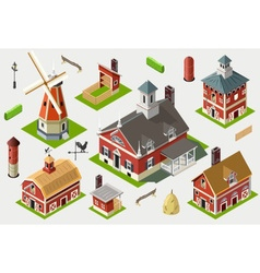 Isometric great american barn set tiles vector