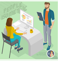 isometric people in office vector image vector image