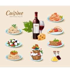 Italian cuisine icons set in cartoon style vector
