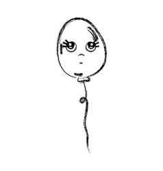 Line kawaii thinking and cute balloon design vector