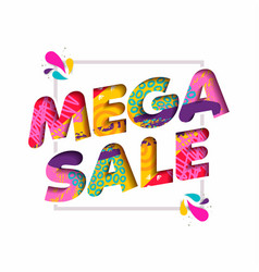 Mega sale color quote text for big discount offer vector