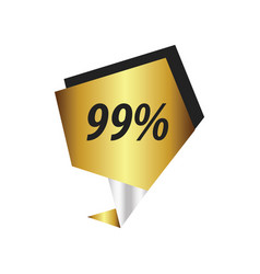 Ninety nine percent label gold silver vector