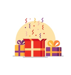 Opened gift box surprise concept vector image