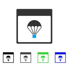 Parachute calendar page flat icon vector