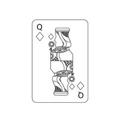 Queen of diamonds playing card casino poker vector