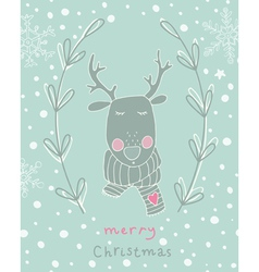 Reindeer Christmas greeting card vector image