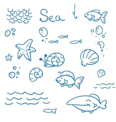 Sea icon set vector image vector image