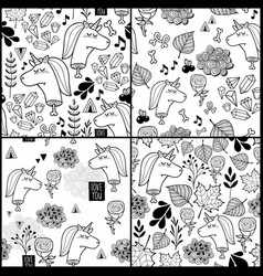 Set of black and white patterns with dead unicorn vector