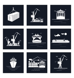 Set of cargo icons vector