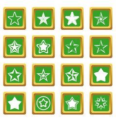 Star icons set green vector