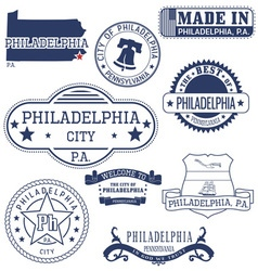 Philadelphia city pennsylvania stamps and seals vector