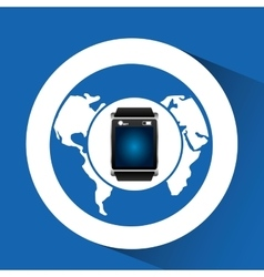 Smart watch blue screen global icon media vector