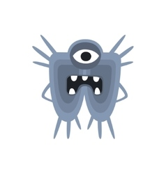 Blue one-eyed aggressive malignant bacteria vector