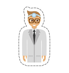 cartoon doctor wearing head mirror with glasses vector image