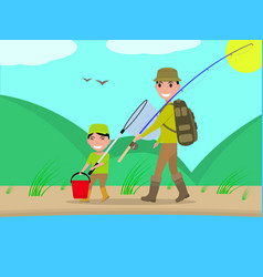 Cartoon father and son go on fishing trip vector