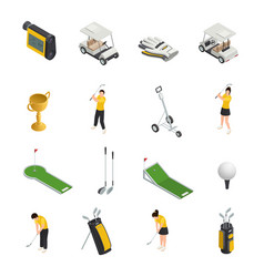 Golf colored isometric isolated icons vector