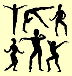 Gymnastic girl silhouette vector