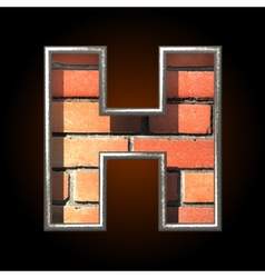 Brick cutted figure h vector