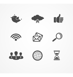 Set of social network icons in black silhouette vector