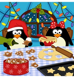 Penguins bake christmas cookies vector