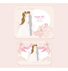 Elegant wedding invitation with wedding couple set vector