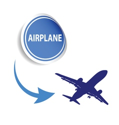 Sticker airplane blue vector