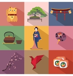 Set of japan travel colorful flat icons japan vector