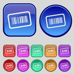 Barcode icon sign a set of twelve vintage buttons vector