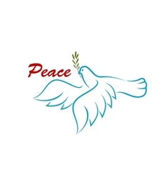 Bird of peace with green olive branch vector image
