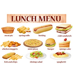 Various kind of food for lunch vector