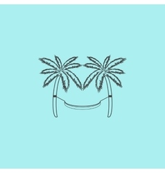 Hammock and palm trees vector