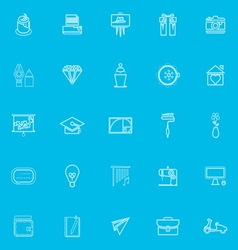 Art and creation blue line icons vector