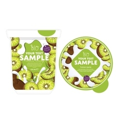 Kiwi yogurt packaging design template vector