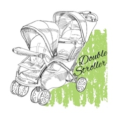 Hand drawn stroller for twins double stroller vector