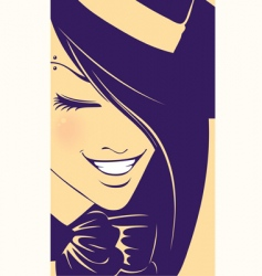 Girl wearing hat vector